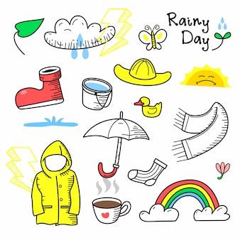 Rainy day doodle hand drawn set isolated