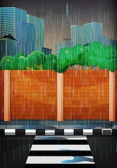 都市の雨の日