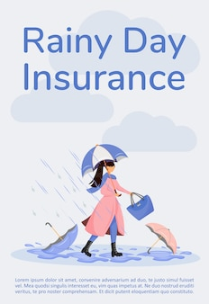 Rainy day insurance poster flat template. coverage for financial loss from storm. brochure, booklet one page concept design with cartoon characters. weather protection flyer, leaflet