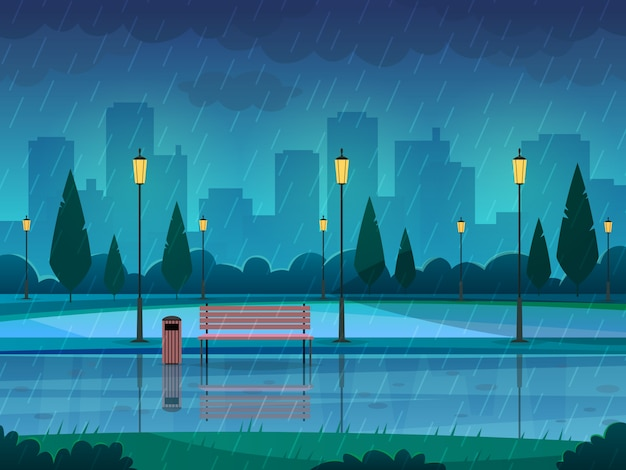 Rainy day park. raining public park rain city nature season path bench street lamp landscape, flat   background