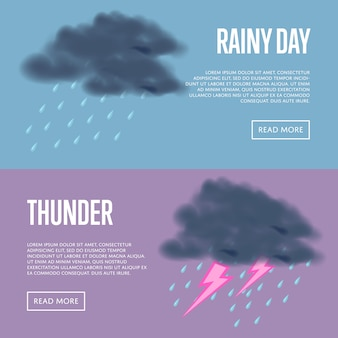 Rainy day and thunder with lightning banners web set
