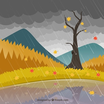 Rainy landscape Premium Vector