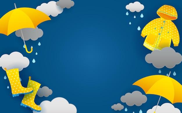 장마 배경 파란색과 노란색 테마
