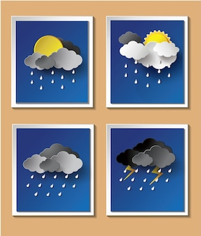 Rainy season background with raindrops and clouds.