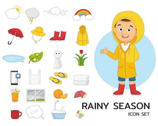 Rainy season set concept flat iconss