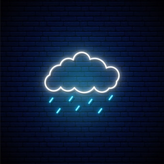 Rainy weather neon sign.