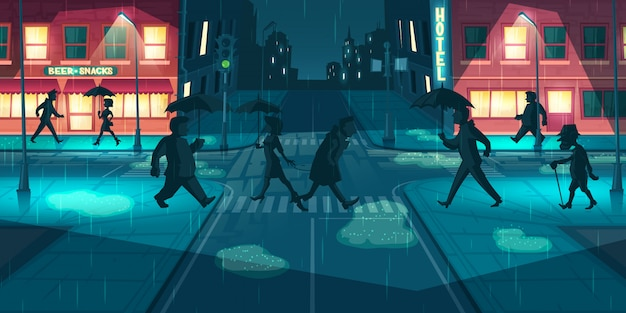 Rainy weather on night city streets vector