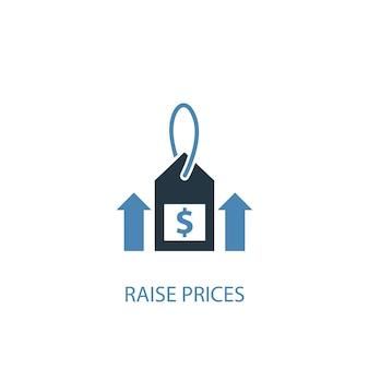 인상 가격 개념 2 색 아이콘입니다. 간단한 파란색 요소 그림입니다. 가격 인상 개념 기호 디자인. 웹 및 모바일 ui/ux에 사용할 수 있습니다.