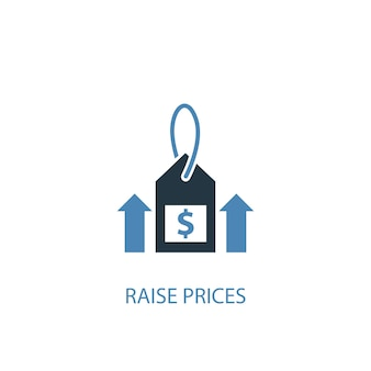 Raise prices concept 2 colored icon. simple blue element illustration. raise prices concept symbol design. can be used for web and mobile ui/ux
