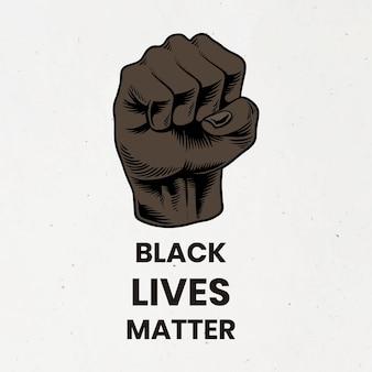 Pugno alzato per il movimento della materia delle vite nere