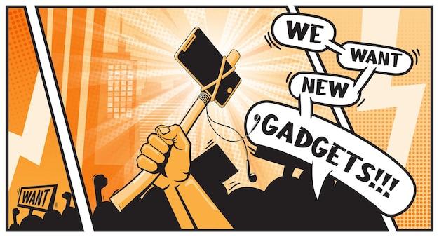 Поднятый кулак сжимая боевой томагавк с современным смартфоном. боритесь за свои права потребителя. концепция защиты прав. протест мятежников требует революции жизни материального активиста. поп-арт в стиле комиксов.