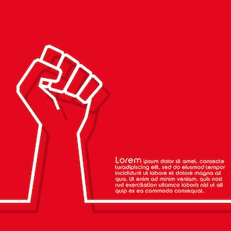 Raised fist minimal line design background