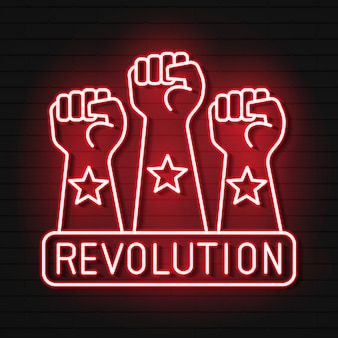 Raised fist neon light icon. protest, support hand gesture. fist pointing up. glowing sign with symbols.