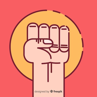 Raised fist for revolution