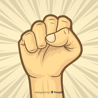 Raised fist for revolution