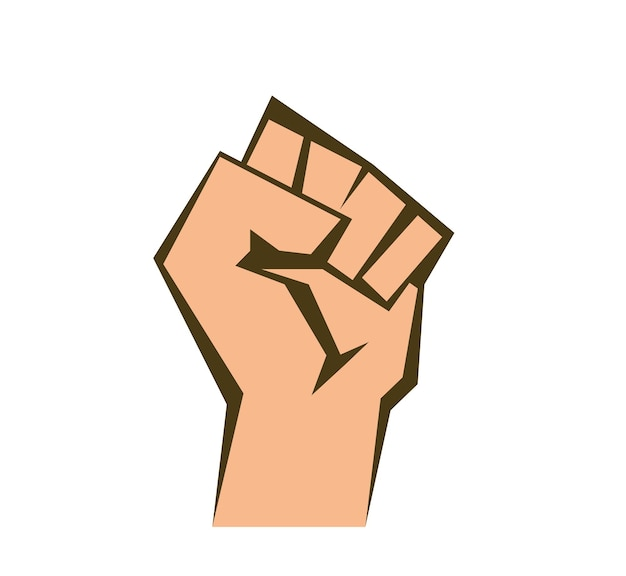 Raised fist on white background vector a clenched fist beige outline and fill eps 10
