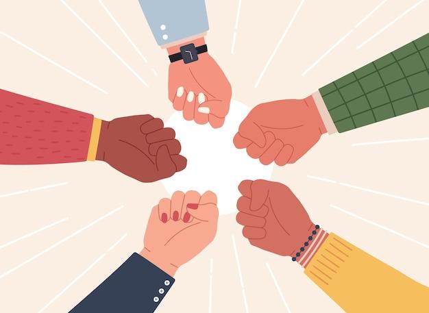 くいしばられた握りこぶし。成功したチームは勝利を祝うために手を差し伸べます。多様なコミュニティの戦いと抗議。パートナーシップ、協力作業ベクトルの概念。イラストサクセスチーム、拳を上げる