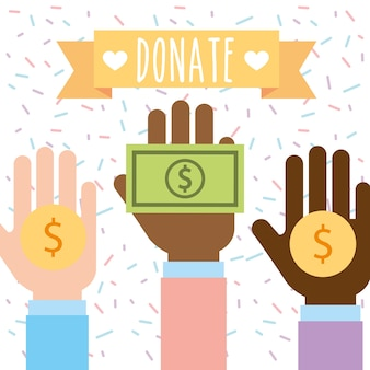 Raised hand multiethnic with money donate charity image