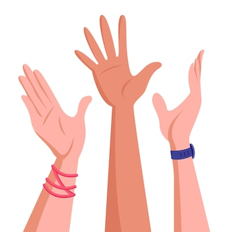 若い人たちの手を上げた。団結とチームワークの概念。企業の成功または良好な協力結果のイラスト。