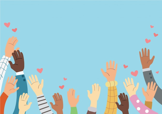Raised hands volunteering and blue background vector