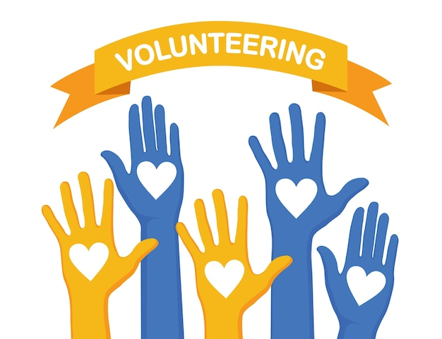 白い背景の上の心で手を上げた。ボランティア、慈善団体、献血のコンセプト。お世話になりました。群衆の投票。