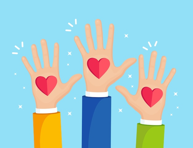 Поднятые руки с красным сердцем. волонтерство, благотворительность, концепция сдачи крови. благодарю за заботу. голосование толпы.