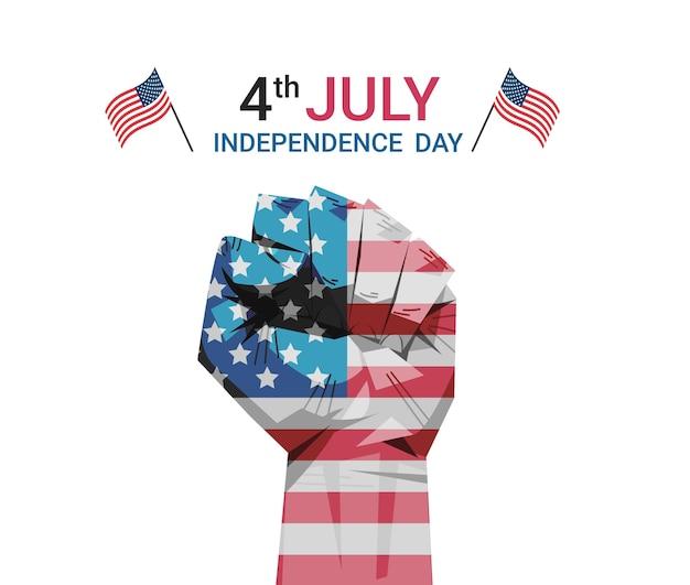 Поднятый кулак с нарисованным флагом сша, знамя 4 июля