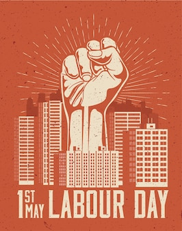 Raised up giant arm fist above red cityscape. 1st may labour day poster concept.  illustration