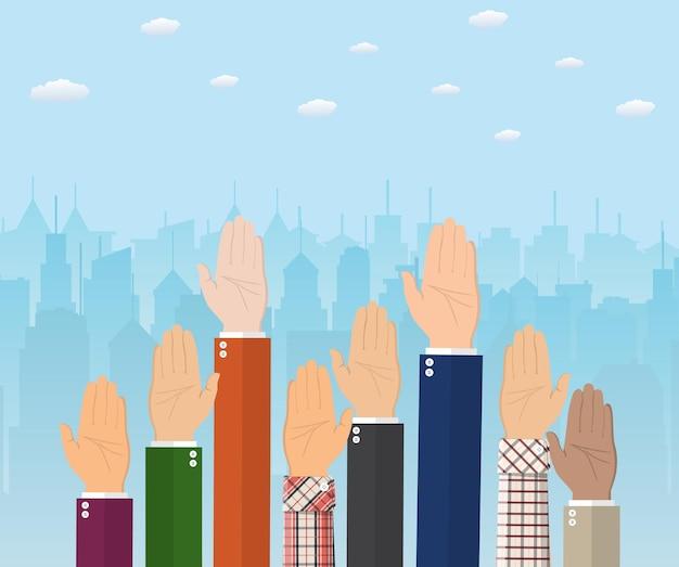 Поднятые вверх руки. люди голосуют за руки. концепция добровольчества и выборов. векторная иллюстрация в плоском стиле