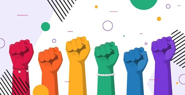 Поднятые вверх радужные цветные руки гей лесбиянки парад любви фестиваль гордости трансгендеры концепция любви горизонтальная векторная иллюстрация
