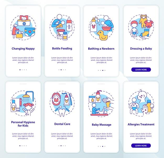 자녀 온보딩 모바일 앱 페이지 화면 세트를 양육합니다. 건강 관리 및 위생 연습은 개념이 있는 4단계 그래픽 지침입니다. 선형 컬러 일러스트레이션이 있는 ui, ux, gui 벡터 템플릿