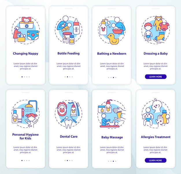 Raising child onboarding mobile app page screen set. health care and hygiene walkthrough 4 steps graphic instructions with concepts. ui, ux, gui vector template with linear color illustrations