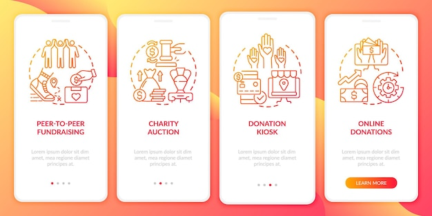 Raising money event ideas onboarding mobile app page screen