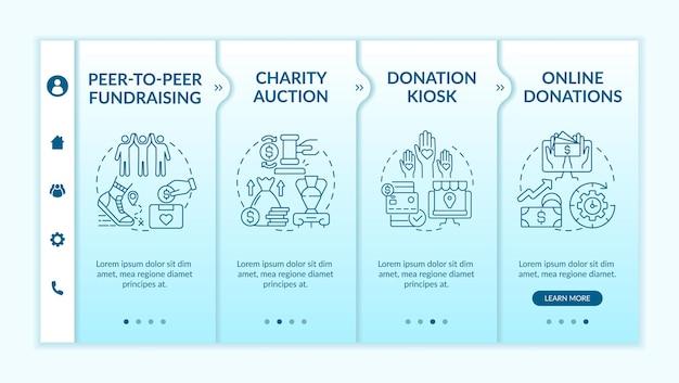 Сбор идей по привлечению денежных средств в векторный шаблон. адаптивный мобильный сайт с иконками. веб-страница прохождение 4-х шаговых экранов. цветная концепция пирингового сбора средств с линейными иллюстрациями