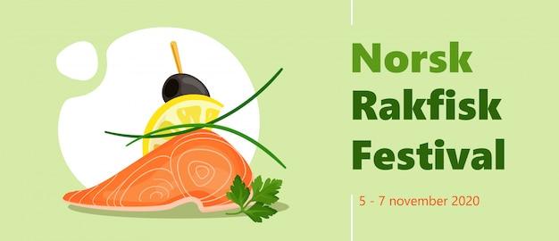 おいしいサーモン、レモン、パセリ、ニラオリーブカナッペとラクフィスク祭カラフルな水平ベクトルバナーテンプレート