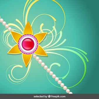 Rakhi background with floral wristband
