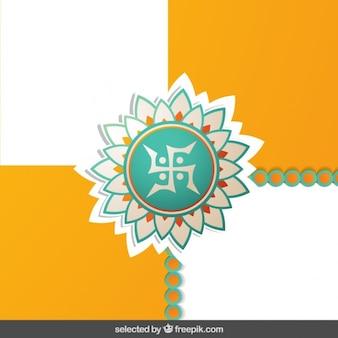 Rakhi floral ornament on checkered background