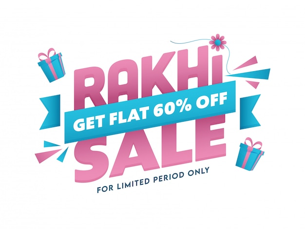 Rakhi sale poster or banner design with 60% discount offer and gift boxes on white background.