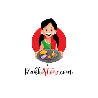 Шаблон дизайна логотипа талисмана магазина рахи