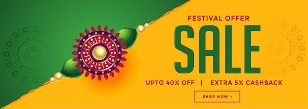 Rakhsha bandhan festival sale with decorative rakhi banner
