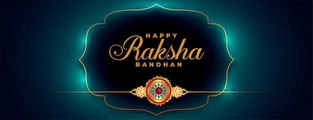Raksha bandhan beautiful banner with golden rakhi