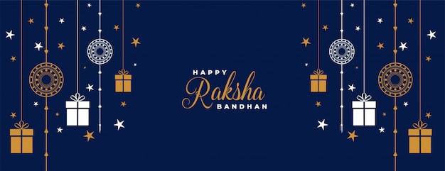 Raksha bandhan blue rakhi and gifts banner
