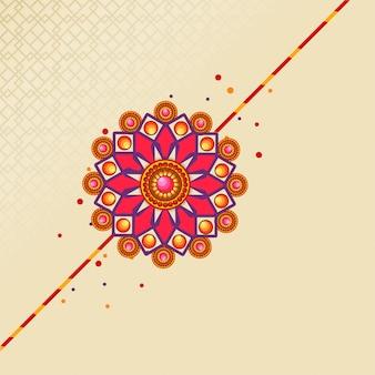 Raksha bandhan festival background decorated with beautiful rakhi.