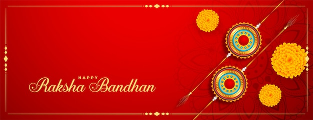 Raksha bandhan festival banner con rakhi e fiori di calendula