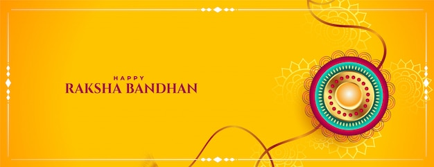 Raksha bandhan festival yellow banner traditional