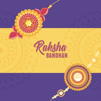 Raksha bandhan, floral bracelet with gems symbol of love brothers and sisters indian celebration