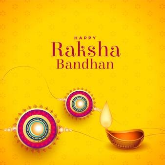 Raksha bandhan greeting card design with diya and rakhi