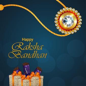Фон празднования индийского фестиваля ракшабандхан с кристальным рахи
