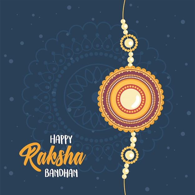 Raksha bandhan, indian wristband symbol of love between brothers and sisters dark background