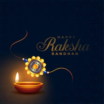 Raksha bandhan rakhi indian festival with diya design